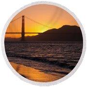 Golden Gate Bridge Sunset Round Beach Towel