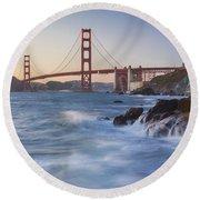 Golden Gate Bridge Sunset Study 5 Round Beach Towel