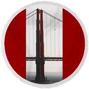 Golden Gate Bridge - Sunset With Bird Round Beach Towel