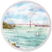 Golden Gate Bridge View From Point Bonita Round Beach Towel