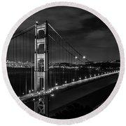 Golden Gate Evening- Mono Round Beach Towel