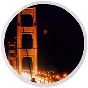 Golden Gate Night Round Beach Towel