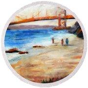 Golden Gate Stroll Round Beach Towel