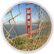 Golden Gate Through The Fence Round Beach Towel by Scott Norris