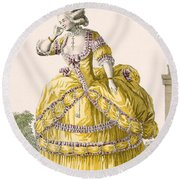 Golden Gown, Engraved By Dupin, Plate Round Beach Towel