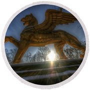 Golden Griffin Round Beach Towel