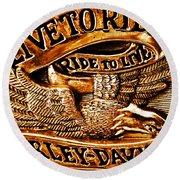 Golden Harley Davidson Logo Round Beach Towel