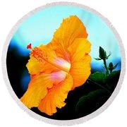 Golden Hibiscus Round Beach Towel