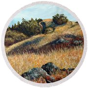 Golden Hills Round Beach Towel
