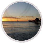 Golden Hour At Naples Pier Round Beach Towel