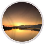 Golden Hour At The River Round Beach Towel