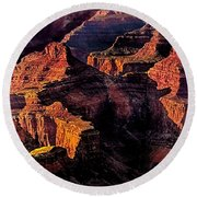 Golden Hour Mather Point Grand Canyon National Park Round Beach Towel