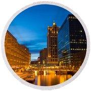 Golden Hour Milwaukee River Round Beach Towel