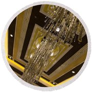 Golden Jewels And Gems - Sparkling Crystal Chandeliers  Round Beach Towel