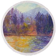 Golden Lake Gregory Round Beach Towel
