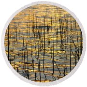 Golden Lake Ripples Round Beach Towel by James BO  Insogna