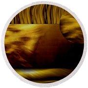 Golden Landscape Round Beach Towel