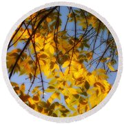Golden Leaf Cascade Round Beach Towel
