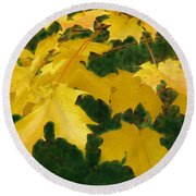 Golden Leaves Floating Round Beach Towel
