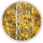 Golden Leaves In Autumn Abstract Round Beach Towel