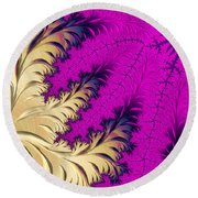 Golden Leaves On Flower Round Beach Towel