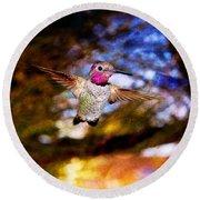 Golden Light Hummingbird Flight Round Beach Towel