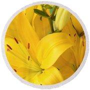 Golden Lilies Round Beach Towel