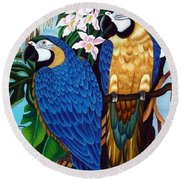 Golden Macaw Hand Embroidery Round Beach Towel