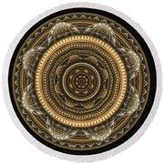 Golden Mandala Round Beach Towel