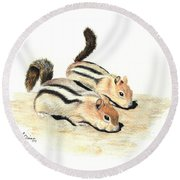 Golden-mantled Ground Squirrels Round Beach Towel