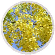 Golden Medallion Shower Tree Round Beach Towel