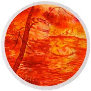 Golden Mountain Lake Morning  Round Beach Towel