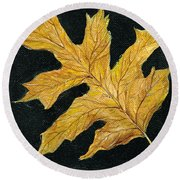 Golden Oak Leaf Round Beach Towel