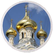 Golden Onion Domes - Church Yalta Round Beach Towel