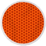 Golden Orange Honeycomb Hexagon Pattern Round Beach Towel