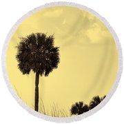 Golden Palm Silhouette Round Beach Towel
