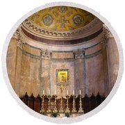 Golden Pantheon Altar Round Beach Towel