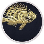 Golden Parrot Fish On Charcoal Black Round Beach Towel