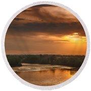 Golden Payette River Round Beach Towel