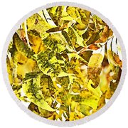Golden Pecan Leaves Abstract Round Beach Towel