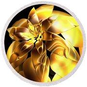Golden Pineapple By Jammer Round Beach Towel