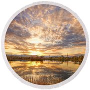 Golden Ponds Scenic Sunset Reflections 2 Round Beach Towel