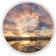 Golden Ponds Scenic Sunset Reflections 3 Round Beach Towel