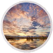 Golden Ponds Scenic Sunset Reflections 4 Round Beach Towel