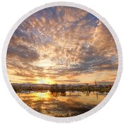 Golden Ponds Scenic Sunset Reflections 5 Round Beach Towel