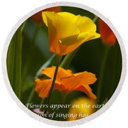 Golden Poppy Floral  Bible Verse Photography Round Beach Towel
