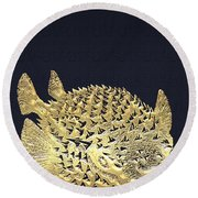 Golden Puffer Fish On Charcoal Black Round Beach Towel