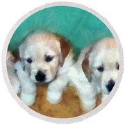 Golden Puppies Round Beach Towel