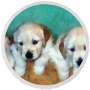 Golden Puppies Round Beach Towel