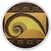 Golden Ratio Spiral Round Beach Towel